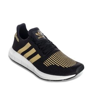 Women's Black and Gold Metallic adidas shoes!!!